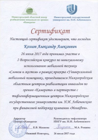Сертификат участника федерального этапа Словом и жестом 2017