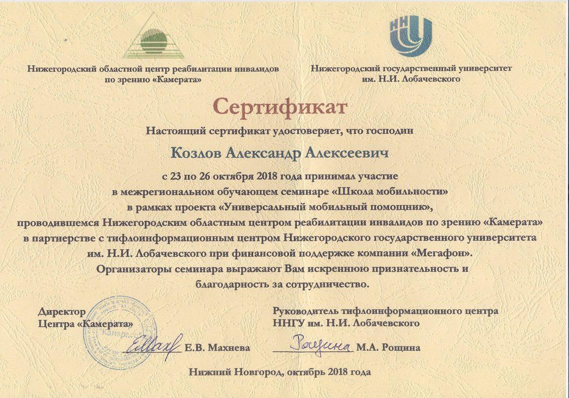 Сертификат Школа мобильности. Октябрь 2018.